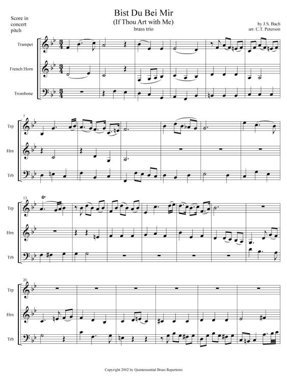 Quintessential Brass Repertoire Bist Du Bei Mir