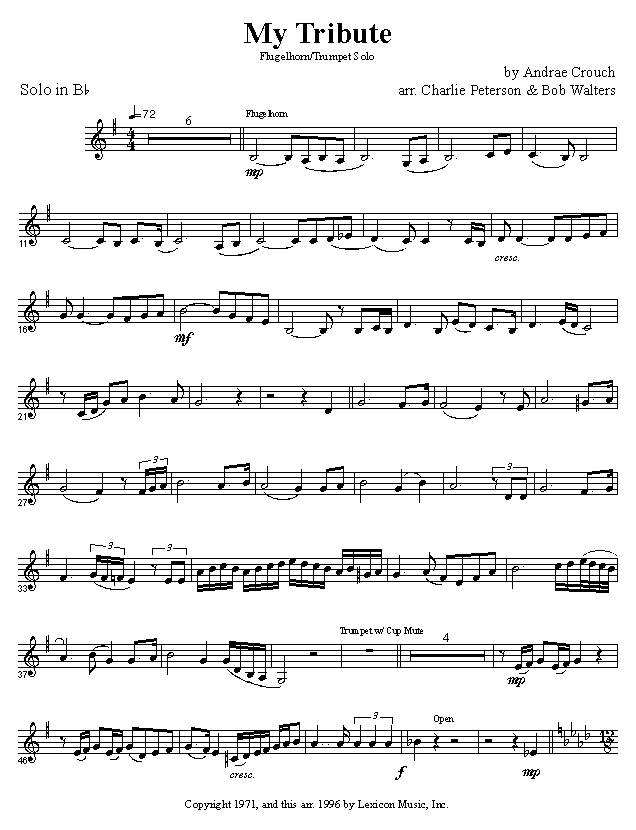 All Music Chords free trumpet solo sheet music : Quintessential Brass Repertoire - My Tribute solo