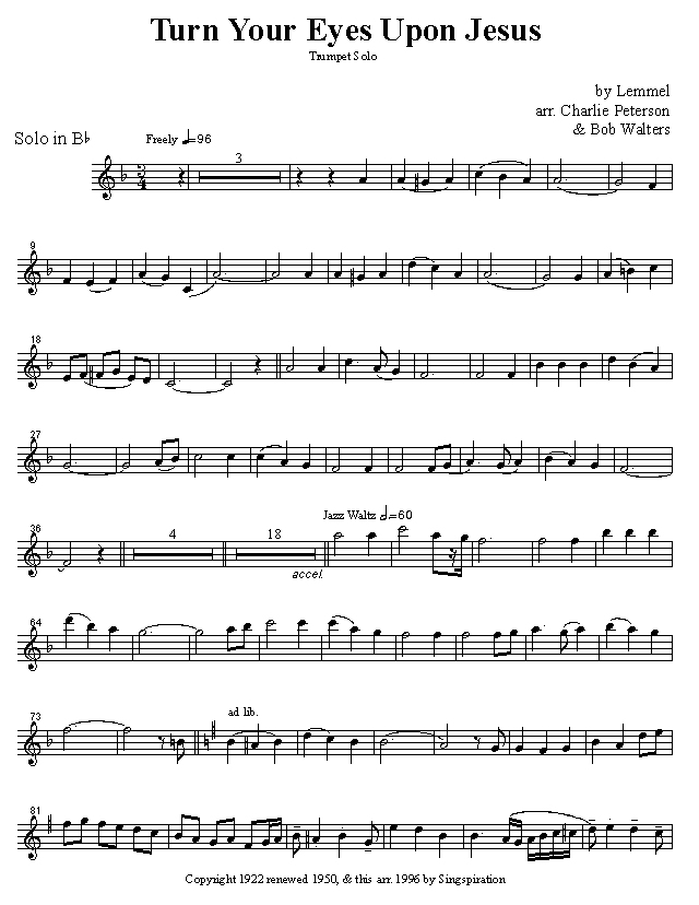 Quintessential Brass Repertoire - Turn Your Eyes Upon Jesus solo